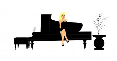 Blonde sitting on piano