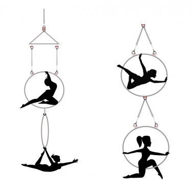 Duo aerial ring dnacers and acrobats