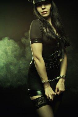 Cuffed police woman