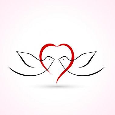 Love Birds icon stock vector