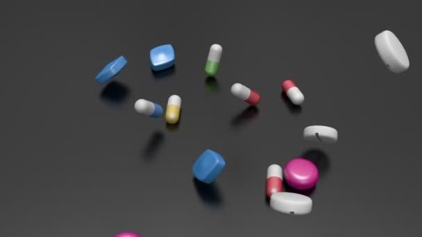 Medicine falling in slow motion