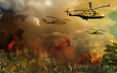 Helicopters above tropical jungle