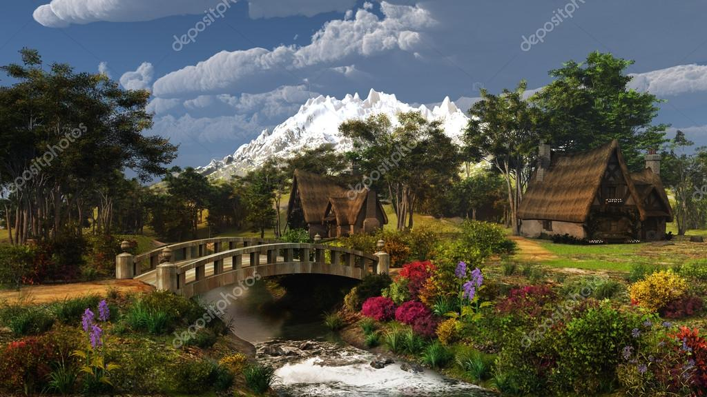 Colorful cottage scenery