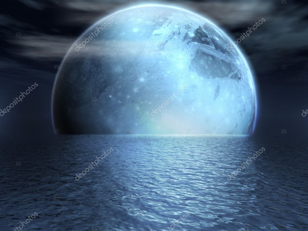 Fantasy moon over a lake