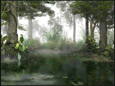 Gloomy day on the swamp stock vector