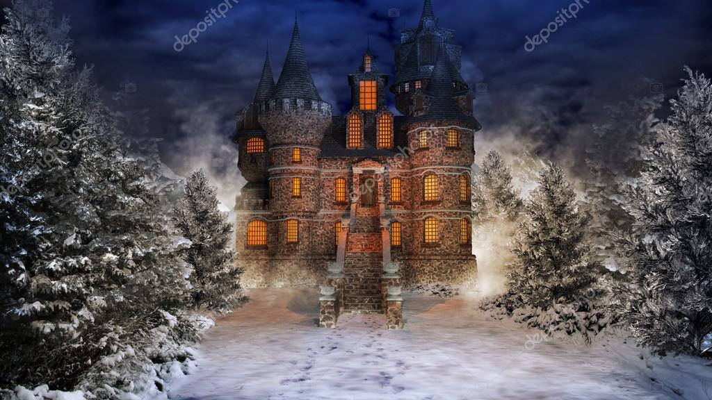 Fairytale castle in snowy forest