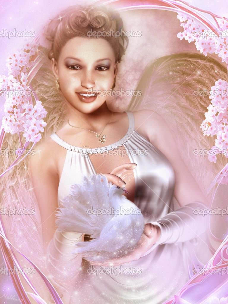 chica con una paloma blanca — Foto de stock © mppriv #33252215