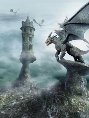 Tower guarded by dragons