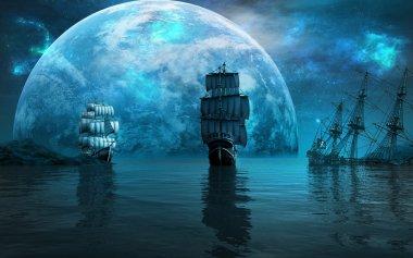Two sailing ships