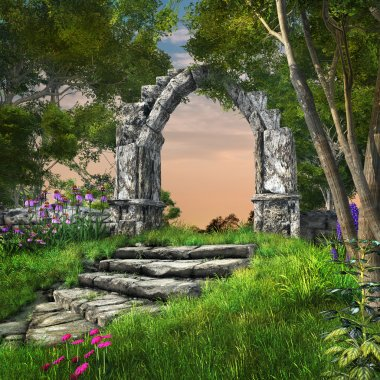 Ruined stone arch in the spring garden