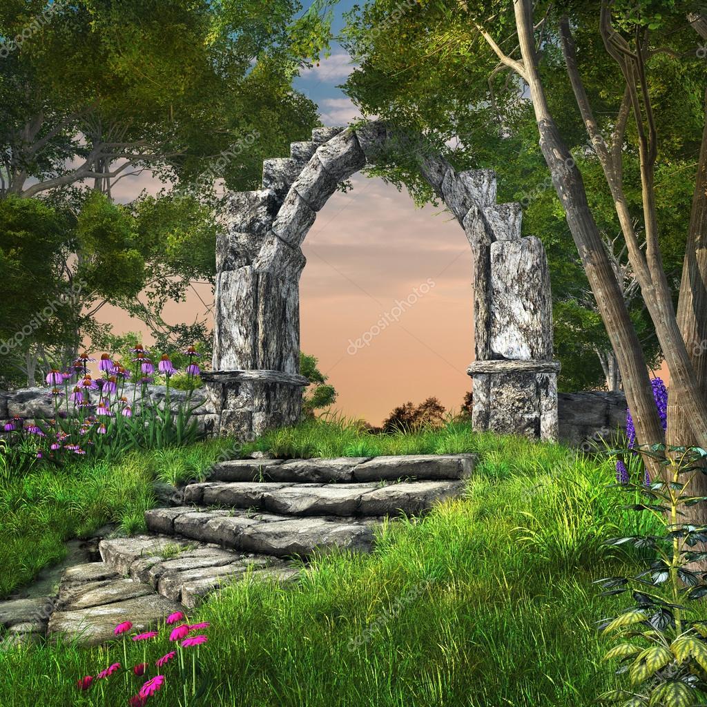 arche de pierre dans le jardin de printemps en ruine photographie mppriv 49368357. Black Bedroom Furniture Sets. Home Design Ideas