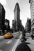 Ploché železo, budovy, usa.black new york city a bílé fotografie