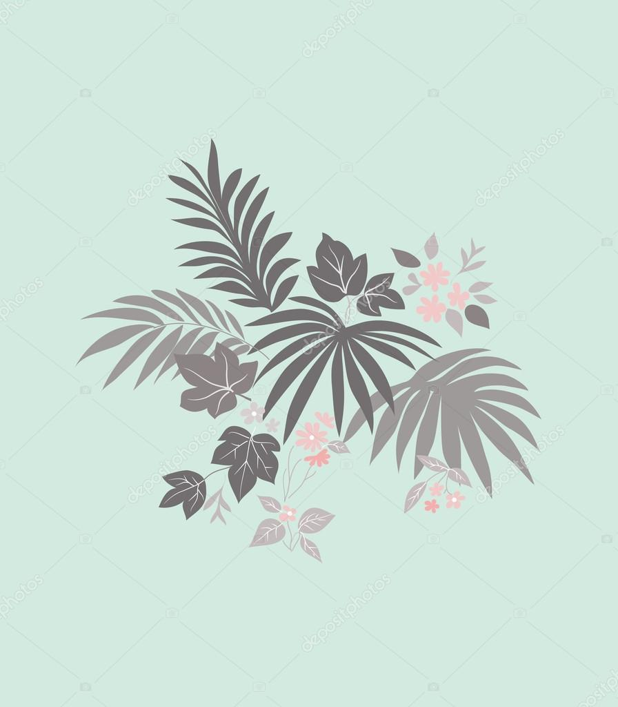 Gentle pattern from a flowers and leaves