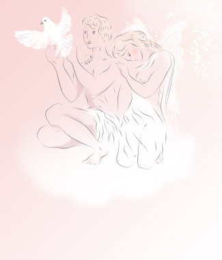 Two beautiful young angels on a cloud with the white pigeo stock vector