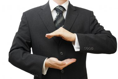 Safe business concept businessman hands in protection shape