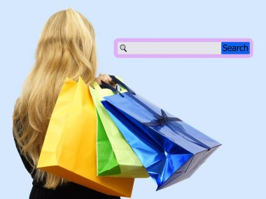 Girl holding shopping bags with search bar. Concept of internet