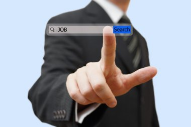 Businessman touching an job search bar. Find job over internet c