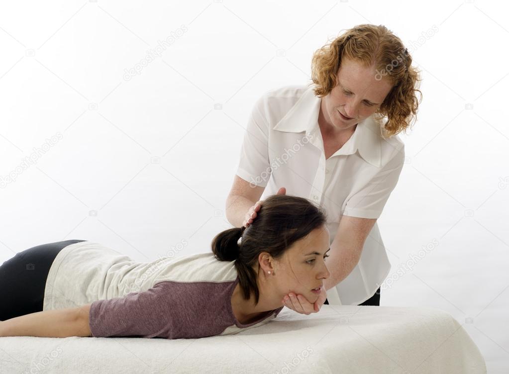 Kinesiologist Behandlung von Nackenmuskulatur — Stockfoto ...