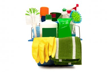 Cleaning Supplies With Yellow Gloves