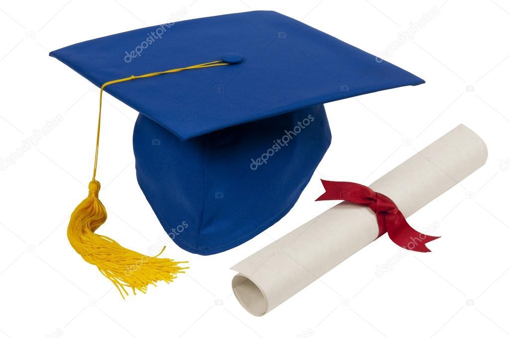 Chapéu De Formatura Azul Com Diploma