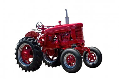 Big Red Farming Tractor On White