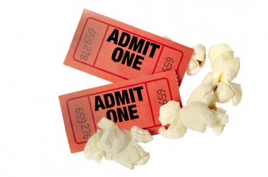 Red Movie Tickets And Popcorn Close Up