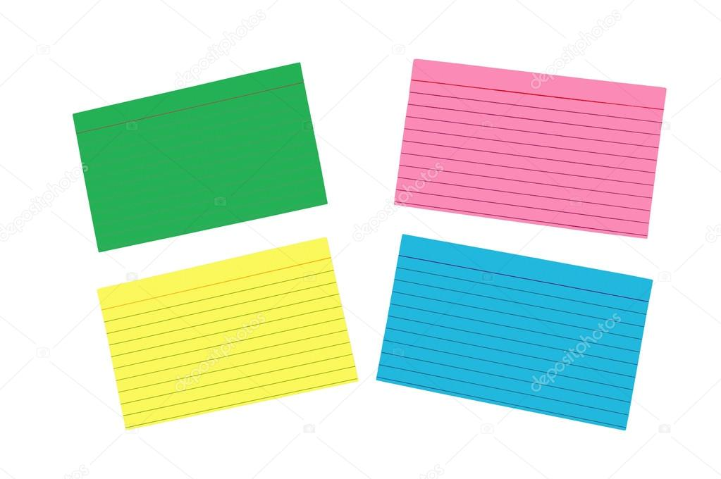 Different Colored Blank Index Cards Isolated — Stock Photo ...