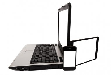 Laptop With Tablet And Mobile Phone
