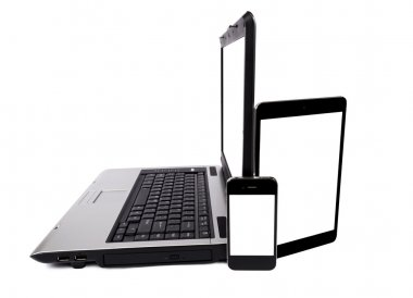 Laptop, Digital Tablet Computer and Mobile Phone Isolated