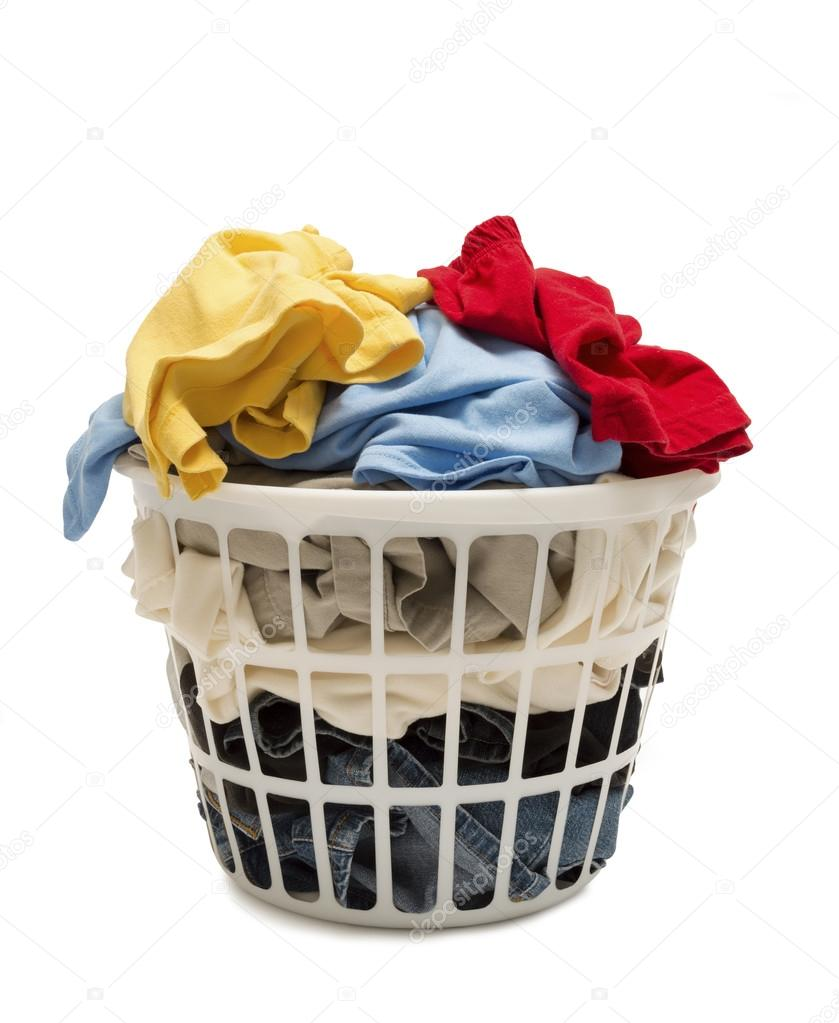 Laundry Basket Shot Straight On Full Of Clothes