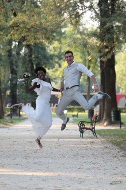 Multiracial wedding couple