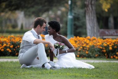 Multiracial wedding couple