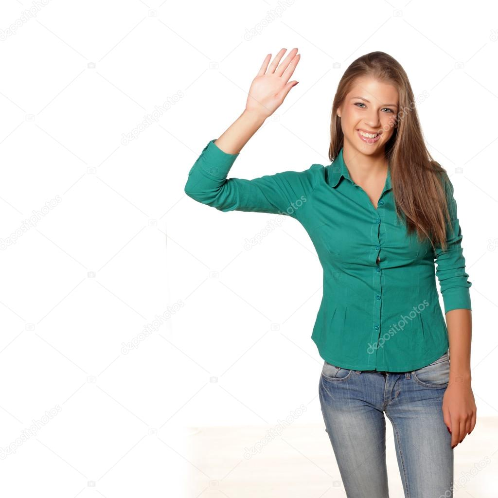 Girl waving hand — Stock Photo © VGeorgiev #50450817