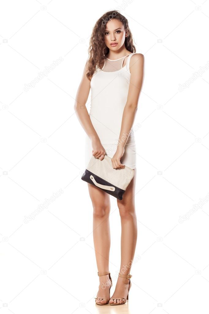 bd13b054c6c0 Dívka v krátké bílé šaty — Stock Fotografie © VGeorgiev  50581707
