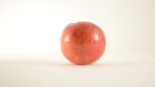 rotující jablko mcintosh proti bílé - dolly vlevo