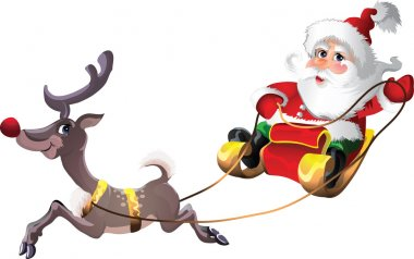 Santa-Claus in Sleigh with Rudolph