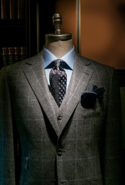 Checkered Jacket & West with Blue Shirt and Tie (Vertical)