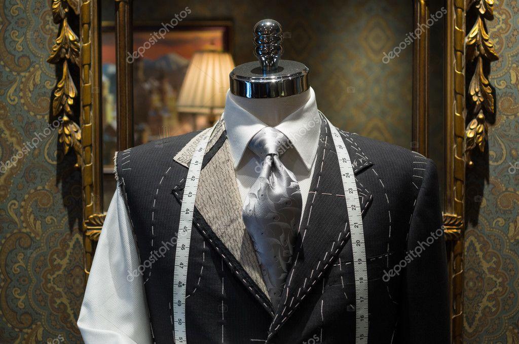 Unfinished jacket at a tailor shop