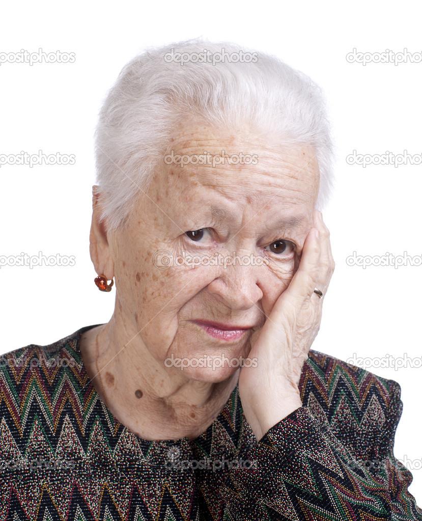 頭痛に苦しんでいる老婦人の肖像...