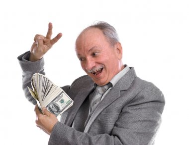 Happy old man with money