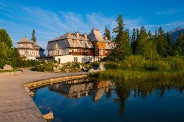 Resort area near mountain lake in National Park High Tatra