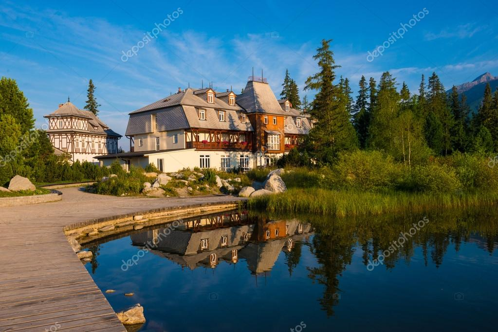 Resort area near mountain lake in National Park High Tatra