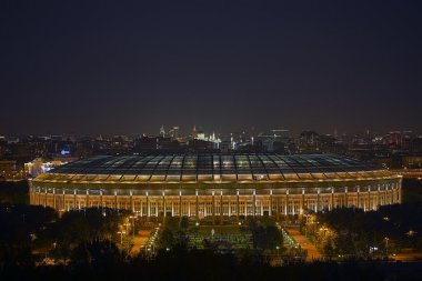Evening view of the Luzhniki stadium in Moscow