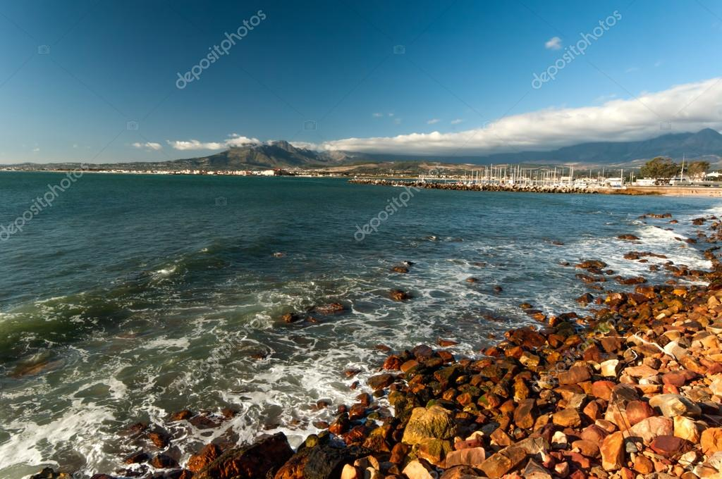 The mountains and harbour at Gordons Bay near Cape Town
