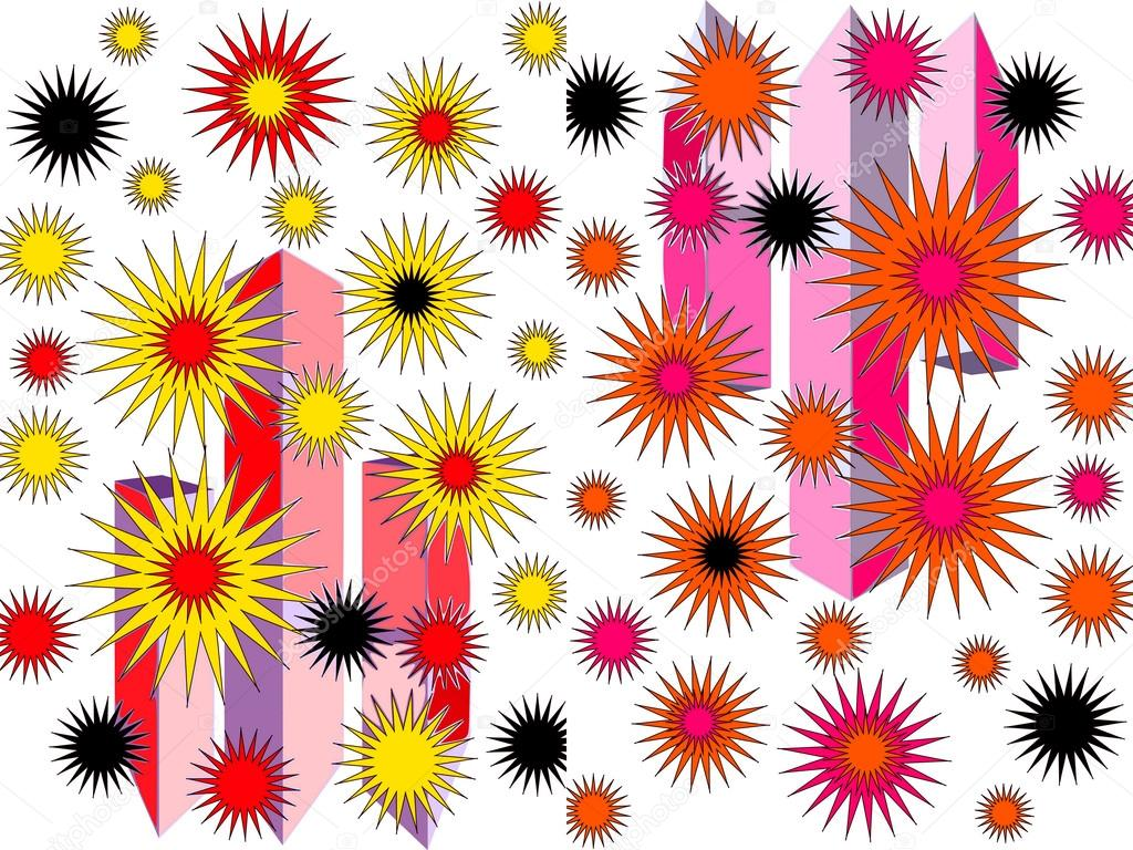 Bright abstract design in pink yellow red and black on for Bright pink wallpaper uk