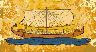 """Картина, постер, плакат, фотообои """"Египетский папирус лодка фреска"""", артикул 38245557"""