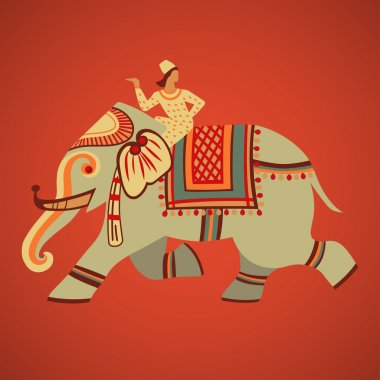Indian riding on a decorated elephant retro vector illustration stock vector
