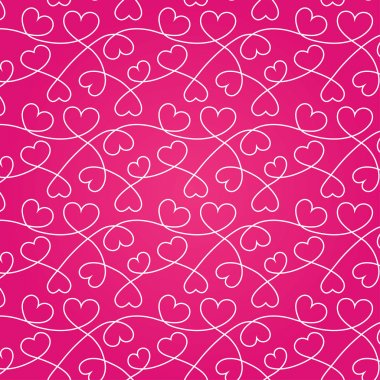 Seamless texture of white hearts for a Valentine day. Pink background. clip art vector