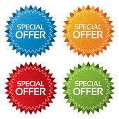Colorful offer tags with texture set (icon)