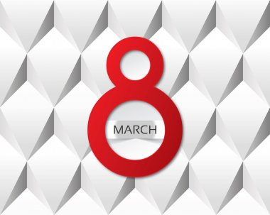 8 march card on abstract white background